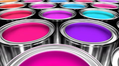 Paint cans 3D animation seamless loop Stock Footage