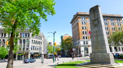4K Urban City Streets and Intersection Traffic, Vancouver BC Downtown City Stock Footage