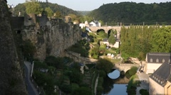 The Old Luxembourg City with bridges Stock Footage