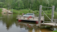 Ligatne Ferry crossing over the Gauja River Stock Footage