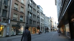 European Shops in the Big City Stock Footage