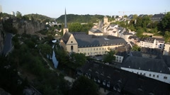 Neumünster Abbey in the Old Luxembourg City on a sunny day Stock Footage