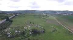 Tel Beit Shemesh - Sheeps near ruins (Israel aerial footage) Stock Footage