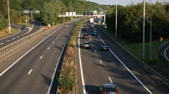 European Highway with traffic on a sunny day Stock Footage