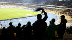 Happy fans shouting, clapping after goal, celebrating victory of favorite team Stock Footage