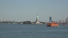 The Statue of Liberty, New York, United States from a Staten Island ferry. Stock Footage