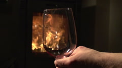 Fire and wine romance Stock Footage