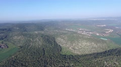 Tel Megiddo - Agriculture fields at Jezreel Valley (Israel aerial footage) Stock Footage