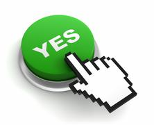 Yes push button concept  3d illustration Stock Illustration
