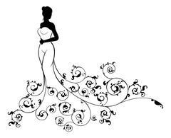Wedding Dress Bride Silhouette Stock Illustration