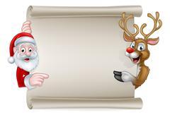Cartoon Santa and Christmas Reindeer Scroll Stock Illustration