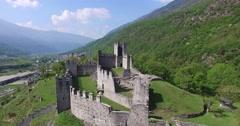 Valtellina - Castles of Grosio (Aerial view) Stock Footage