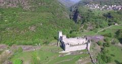 Grosio Castles -  Park petroglyphs in Valtellina - Aerial View Stock Footage