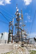 Metal construction to broadcast phone radio tv signals Stock Photos