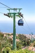 Cable car with cabins in landscape of Madeira Stock Photos