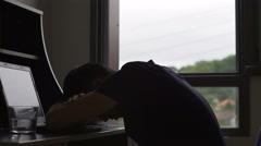 Overworked freelancer sleeping during work, man having deadline, workaholic Stock Footage