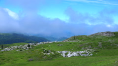 France, Pyrenees, Hautes-Pyrenees, View to Pyrenees, Clouds crossing the mountai Stock Footage