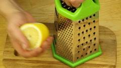 Rub the lemon zest Stock Footage