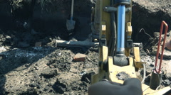 Excavator buldozer POV worker slow  Stock Footage