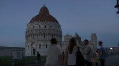 Pisa,Cathedral and Leaning Tower at sunset. Stock Footage
