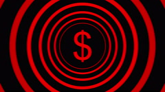 Falling dollar sign surrounded by red blurred circles - visual illusion. Stock Footage