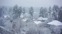 Beautiful winter landscape, snow falling on silent country houses and pine trees Arkistovideo