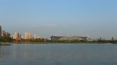 Chengdu new century global center and Jinchenghu lake in the late afternoon Stock Footage