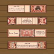Banner card set with floral colorful decorative mandala elements background. Stock Illustration