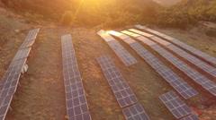 4K Aerial of renewable enery (Solar park) in sundown Stock Footage