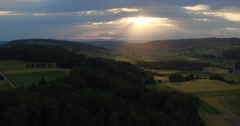 Aerial view of a sunset in Central Switzerland near Lucerne, 4K, UHD Stock Footage