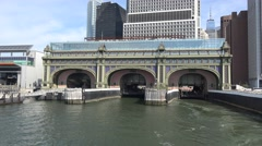 Departing Battery Maritime Building on a Governors Island Ferry, New York. Stock Footage