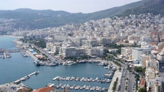 The city of Kavala, Greece - landscape buildings view panoram from above Stock Footage