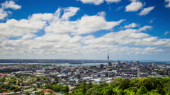 Time Lapse - Ariel View of Downtown Auckland, New Zealand Stock Footage