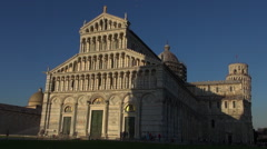 Cathedral and Leaning Tower at sunset,Pisa Stock Footage