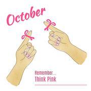 Breast Cancer Awareness Month Background Stock Illustration