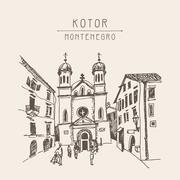 Original sepia sketch drawing of Church of Saint Tryphon in Koto Stock Illustration