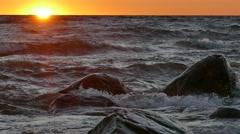 Seaside sunset on Baltic sea Stock Footage