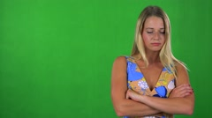 Young pretty blond woman disagrees - green screen - studio  Stock Footage