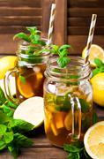 Cold tea with ice Stock Photos