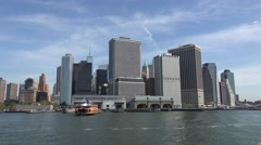 Downtown Manhattan viewed from a Staten Island Ferry, New York, United States. Stock Footage