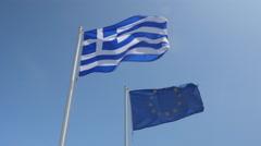 Greek and EU flag waving together Stock Footage