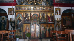 Icons in Greek church. Stock Footage