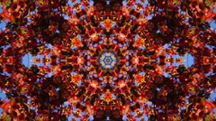 Amazing abstract kaleidoscopic pattern with red maple foliage and blue sky Stock Footage