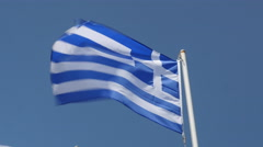 Greek flag waving in wind. Stock Footage