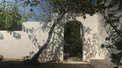Typical Greek patio with doorway Stock Footage