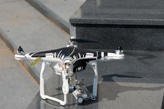 Crashed drone on the ground Stock Photos
