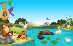 Many animals living by the pond Stock Illustration