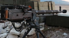 Heavy Machine Gun in a Bunker Stock Footage