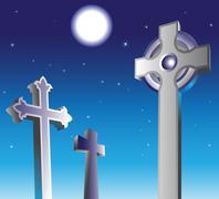 Graveyard at night Stock Illustration