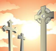 Graveyard Stock Illustration